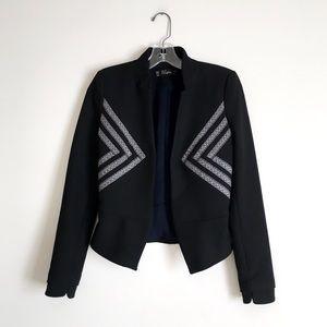 Zara | Black Blazer Jacket Ribbon Embellished